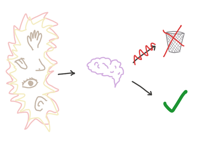 Schéma explicatif du déficit d'inhibition latente